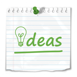 """Ideas"" note stuck to wall (innovation business light bulb tips)"